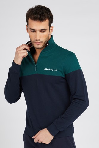 Colourblock Polo Sweatshirt with Half Zip and Long Sleeves