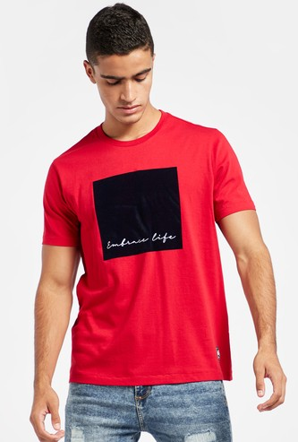 Flock Print T-shirt with Round Neck and Short Sleeves
