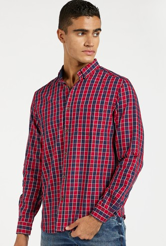 Checked Shirt with Long Sleeves and Pocket