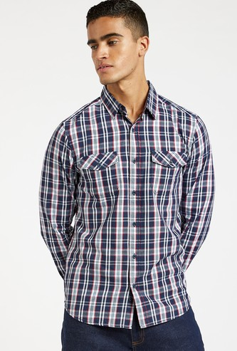 Checked Shirt with Long Sleeves and Flap Pockets