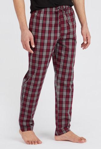 Full Length Checked Pyjamas with Elasticated Drawstring Waistband