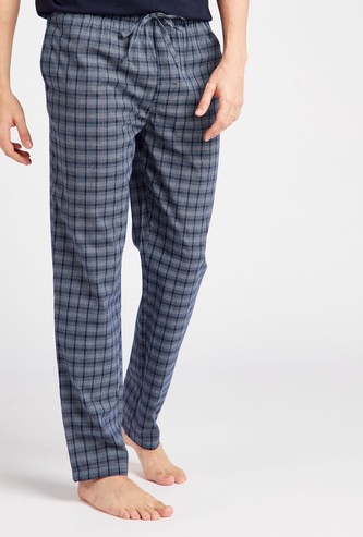 Checked Cotton Pyjamas with Drawstring Closure