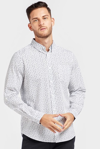 Regular Fit Floral Print Collared Shirt with Long Sleeves and Chest Pocket