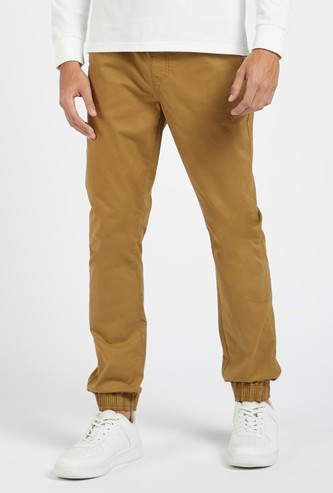 Full Length Solid Jog Pants with Pockets and Drawstring Closure
