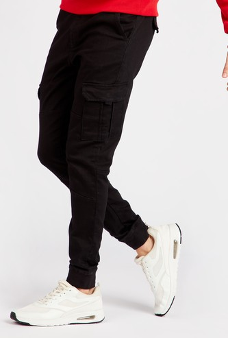 Solid Mid-Rise Joggers with Drawstring Closure and Flap Pockets