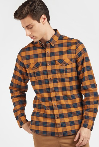 Checked Shirt with Button Down Collar and Long Sleeves