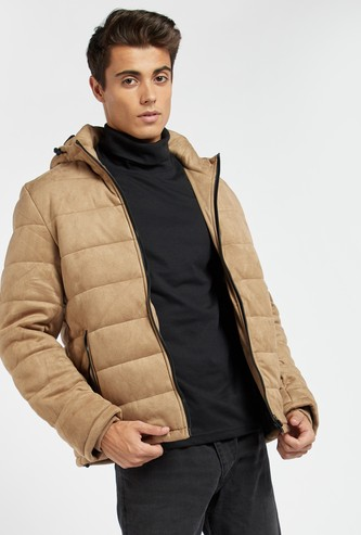 Quilted Long Sleeves Jacket with Hooded Neck and Zip Closure