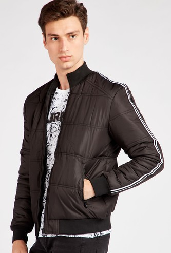 Solid High Neck Jacket with Pockets and Tape Detail