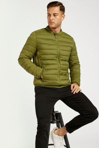 Solid Quilted Long Sleeves Jacket with Pockets and Zip Closure