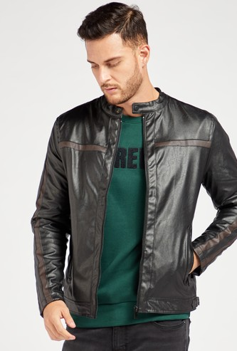 Solid Biker Jacket with Pocket and Long Sleeves