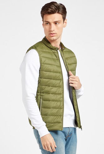 Solid Mandarin Neck Sleeveless Parka Jacket with Pockets