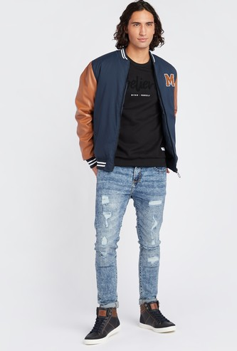 Solid Bomber Jacket with Pocket Detail and Long Sleeves