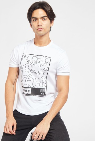 Slim Fit Graphic Print T-shirt with Crew Neck and Short Sleeves