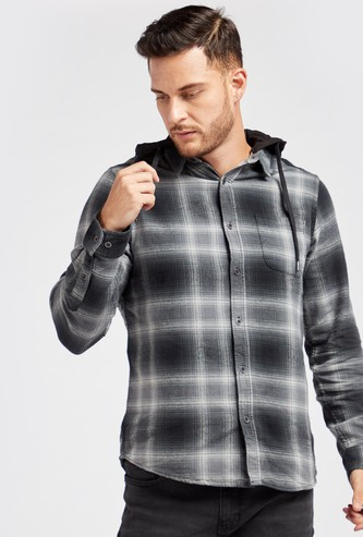Checked Shirt with Detachable Hood and Long Sleeves