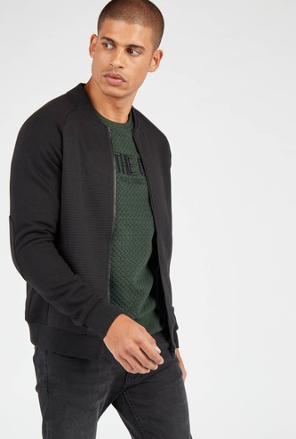 Textured Bomber Jacket with Long Sleeves and Pockets