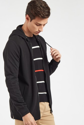Slim Fit Textured Hoodie with Long Sleeves and Zip Closure