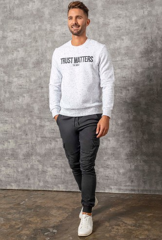 Quilted Round Neck Sweatshirt with Long Sleeves