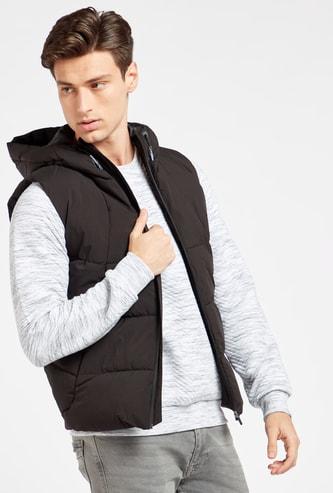 Solid Sleeveless Parka Jacket with Hood and Pockets