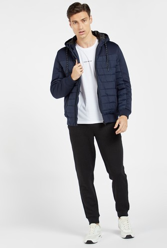 Solid Panelled Jacket with Hood and Long Sleeves