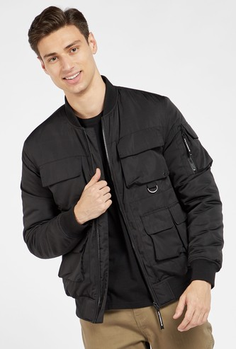 Solid Long Sleeves Bomber Jacket with Pockets and Zip Closure
