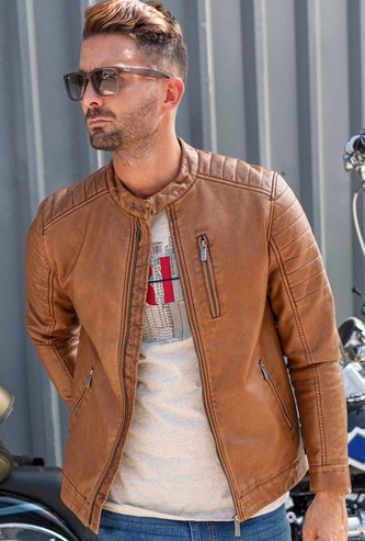 Solid High Neck Biker Jacket with Long Sleeves and Pocket Detail