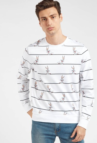 Slim Fit All-Over Bugs Bunny Print Sweatshirt with Crew Neck