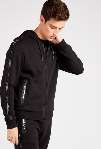 Printed Long Sleeves Hoodie with Tape Detail and Zip Closure