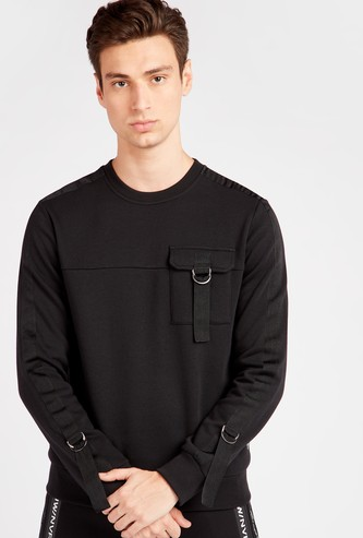 Solid Sweatshirt with Long Sleeves and Utility Chest Pocket