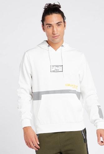 Reflective Print Hoodie with Long Sleeves and Kangaroo Pockets