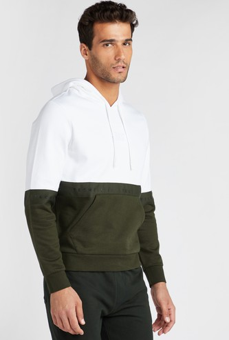 Slim Fit Colour Block Sweatshirt with Hood and Kangaroo Pockets