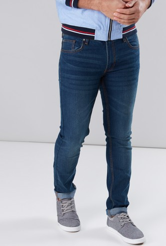 Pocket Detail Jeans in Skinny Fit with Belt Loops