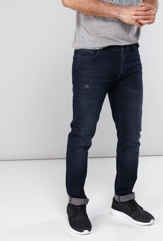 Full Length Distressed Jeans with Button Closure and Pocket Detail