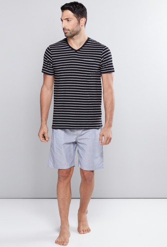 Striped V-Neck T-Shirt with Pocket Detail Shorts