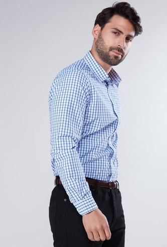 قميص رسمي كاروهات بقصة عادية وأكمام طويلة