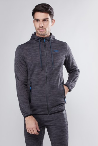 Textured Hoodie with Zippered Pockets
