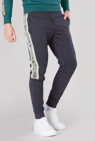 Panelled Jog Pants with Pocket Detail and Drawstring
