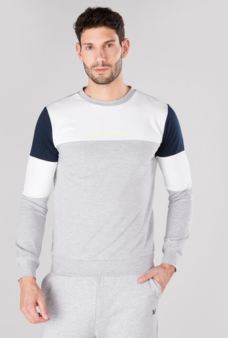 Panelled Sweatshirt with Round Neck Long Sleeves