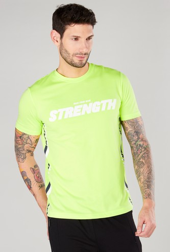 Typographic Printed T-shirt with Short Sleeves