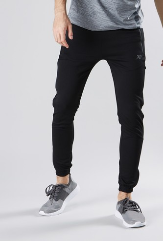 Printed Knit Textured Joggers with Zippered Pockets
