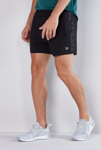 Textured Shorts with Tape Detail and Elasticised Waistband