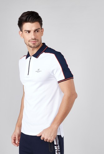 Plain Polo T-shirt with Short Sleeves and Zipper