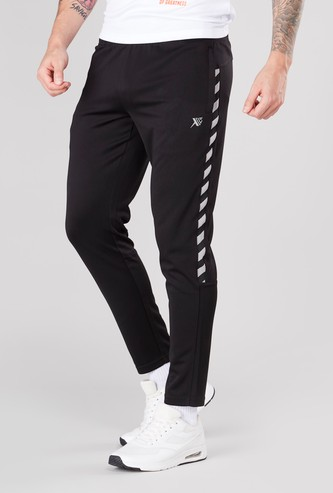 Panelled Track Pants with Drawstring and Pocket Detail