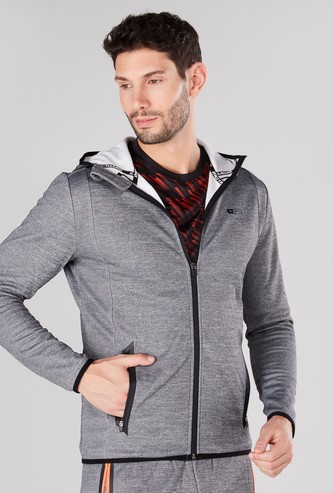 Textured Jacket with Long Sleeves and Hood