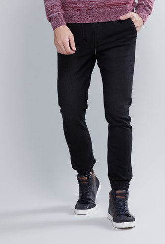 Denim Jog Pants with Drawstring and Pocket Detail