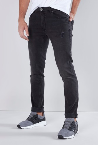 Skinny Fit Mid Rise Full Length Jeans with Pocket Detail