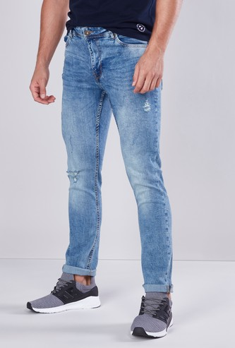 Slim Fit Mid Waist Distressed Jeans with Pocket Detail