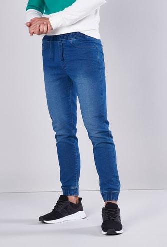 Slim Fit Mid Rise Jog Pants with Pocket Detail