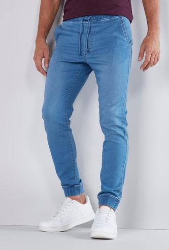 Slim Fit Full Length Mid Rise Denim Jog Pants with Pocket Detail