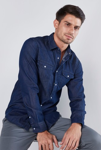 Denim Shirt with Pocket Detail and Long Sleeves