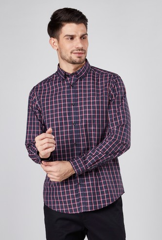 Checked Shirt with Long Sleeves and Complete Placket